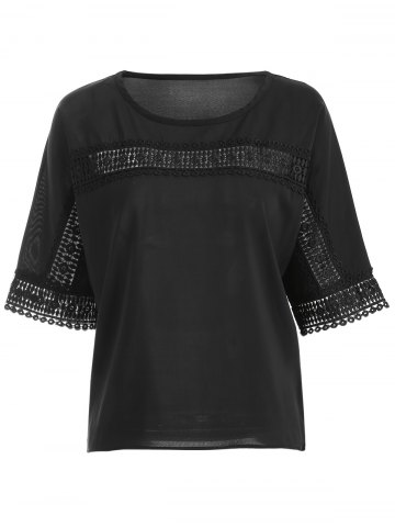 Hot Lace Insert Openwork Blouse