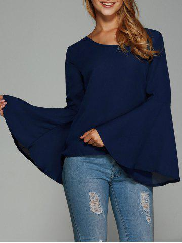 Discount Bell Sleeve Backless Blouse DEEP BLUE L