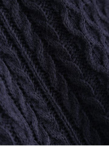 Affordable V-Neck Cable-Knit Striped Knitwear - ONE SIZE CADETBLUE Mobile