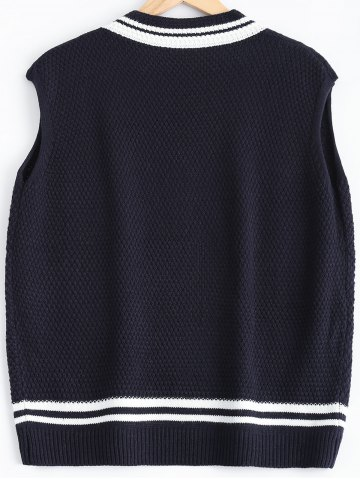 Cheap V-Neck Cable-Knit Striped Knitwear - ONE SIZE CADETBLUE Mobile