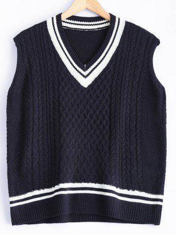 Store V-Neck Cable-Knit Striped Knitwear CADETBLUE ONE SIZE