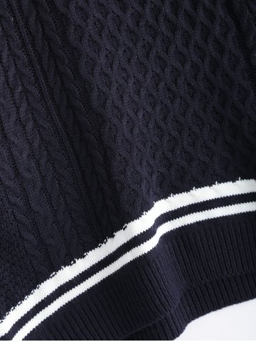 Latest V-Neck Cable-Knit Striped Knitwear - ONE SIZE CADETBLUE Mobile