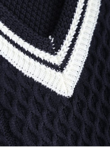 Outfit V-Neck Cable-Knit Striped Knitwear - ONE SIZE CADETBLUE Mobile