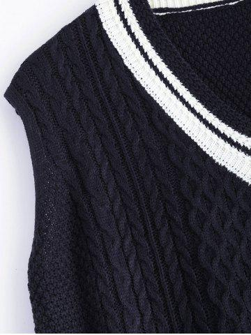 Online V-Neck Cable-Knit Striped Knitwear - ONE SIZE CADETBLUE Mobile