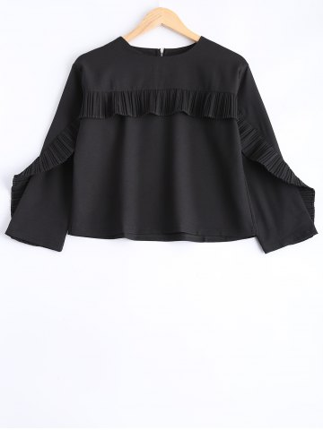 Store Zipper Flounce Embellished Blouse