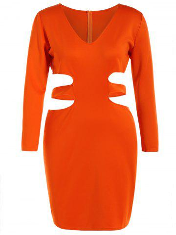 Store Long Sleeve Cut Out Plus Size Club Dress