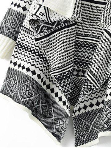 Affordable Tribal Pattern Knitted Cardigan - ONE SIZE OFF-WHITE Mobile