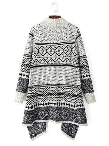 Shops Tribal Pattern Knitted Cardigan - ONE SIZE OFF-WHITE Mobile
