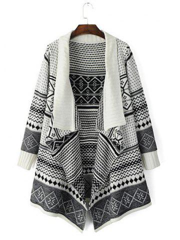 Tribal Pattern Knitted Cardigan - Off-white - One Size