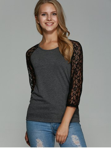 Buy Lace Splicing Hollow Out T-Shirt - S GRAY Mobile