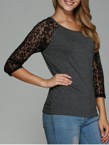 Trendy Lace Splicing Hollow Out T-Shirt - S GRAY Mobile