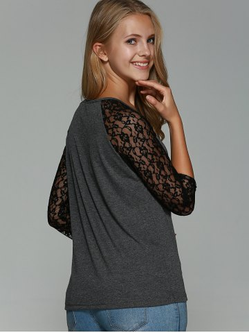 Unique Lace Splicing Hollow Out T-Shirt - S GRAY Mobile