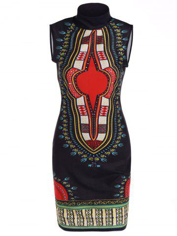 Fancy Stand Neck Printed Knee Length Dress BLACK L