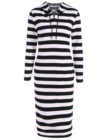Store Hooded Striped Midi Dress