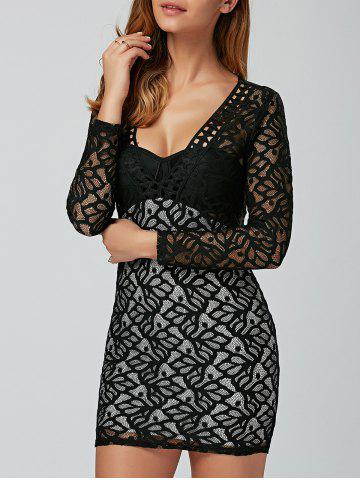 Discount Tight Hollow Out Lace Club Short Dress BLACK XL