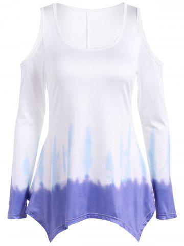 Outfits Long Sleeve Cold Shoulder Tie Dye Tee MULTICOLOR S