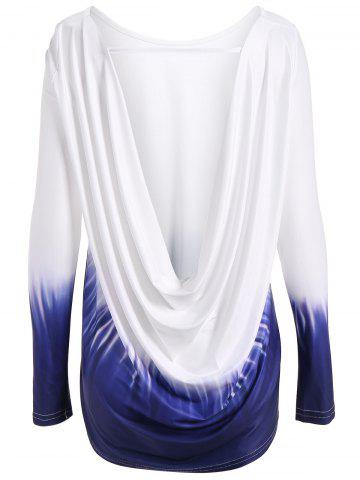 Store Long Sleeve Drap Back Ombre T Shirt