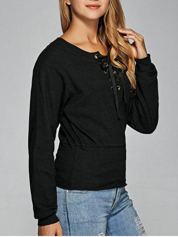 New Long Sleeve Lace Up Tee