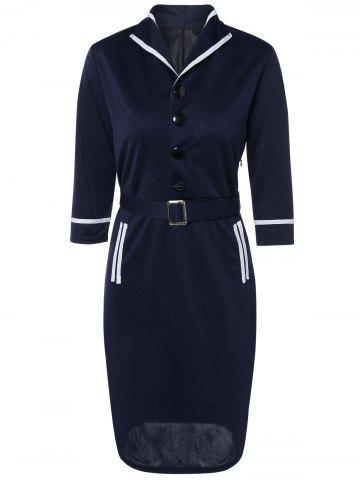 Outfits Navy Style Belted Bodycon Dress NAVY BLUE 2XL