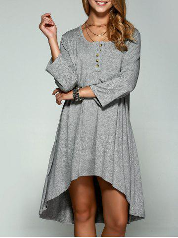 Latest Casual Ruffled High Low Dress GRAY XL