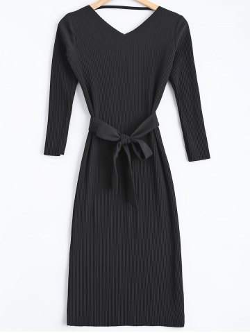 Outfits Cut Out Belted Sweater Dress