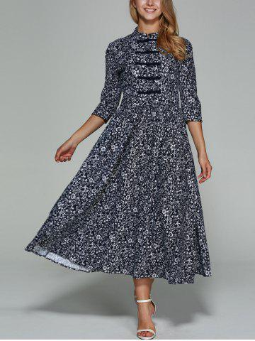 Fancy Chinese Button Floral Print Maxi Dress