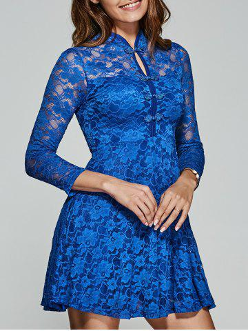 Shop Hollow Out Frog Button Lace Dress
