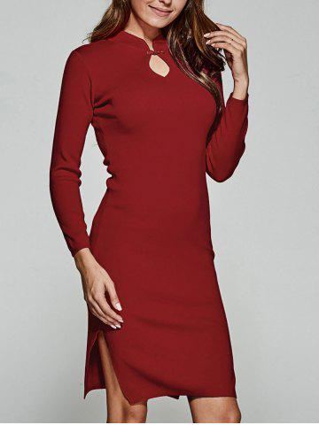 Outfit Slimming Side Slit Knitted Cheongsam Dress