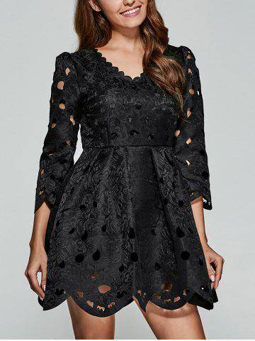 Discount Wave Cut Openwork Lace Dress BLACK L