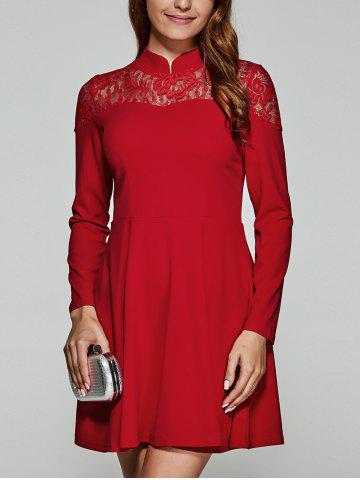 Chic Lace Spliced Swing Dress RED L