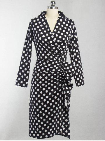 Sale Vintage V-Neck Polka Dot Ruched Dress