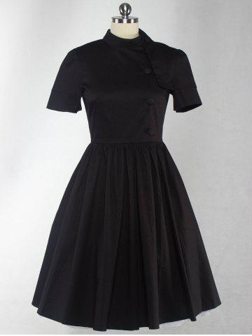 Outfit Retro Style High Waist Button Embellished Dress