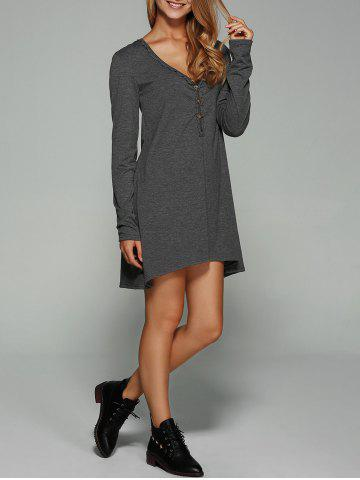 Outfit Button Embellished Asymmetrical Dress GRAY XL