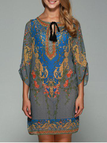 Fashion 3/4 Sleeve Ornate Printed Shift Dress