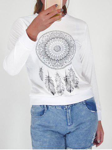 Store Round Collar Ethnic Print Sweatshirt WHITE XL
