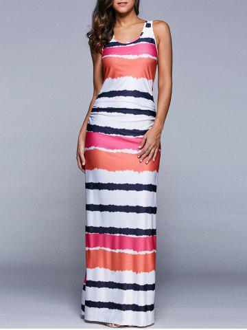 Latest Ruched Multicolor Striped Maxi Dress