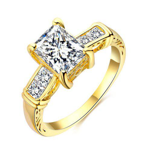 Trendy Rectangle Rhinestone Charm Alloy Ring