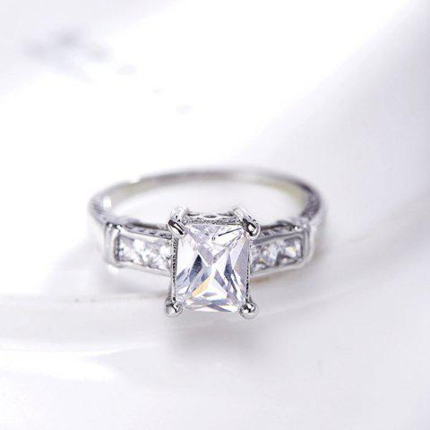Affordable Rectangle Rhinestone Charm Alloy Ring - 8 SILVER Mobile