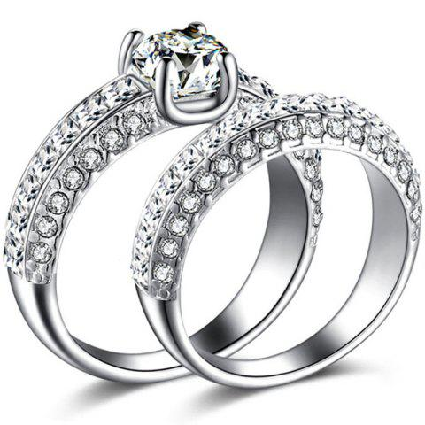 Cheap 2 Pcs Polished Curvy Rhinestone Rings