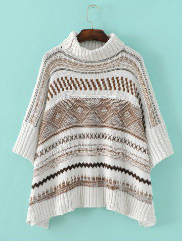 Cheap Tribal Pattern Asymmetrical Knitted Sweater