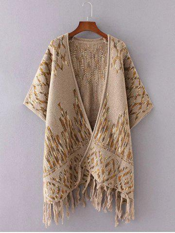 Best Rhombus Pattern Fringed Cardigan