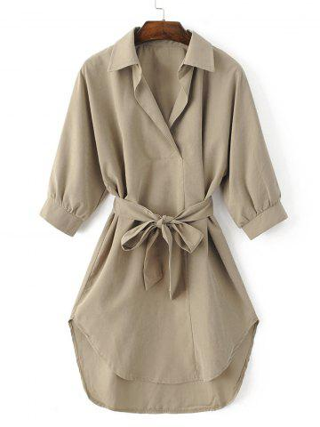 Shops Turn-Down Collar Belted High-Low Hem Shirt Dress KHAKI XL