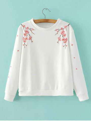 Outfits Wintersweet Embroidery Loose-Fitting Pullover Sweatshirt WHITE L