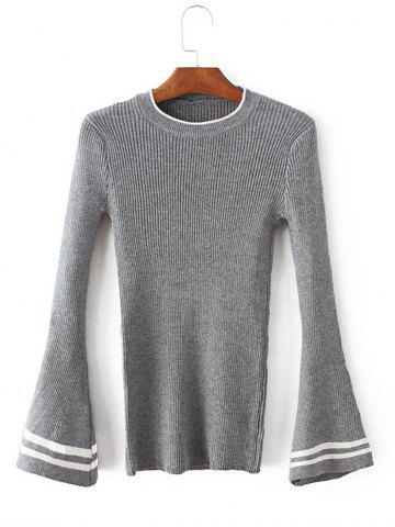 Latest Round Collar Flare Sleeve Pullover Sweater