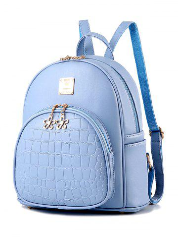 Affordable Metallic Flowers Crocodile Embossed PU Leather Backpack - BLUE  Mobile