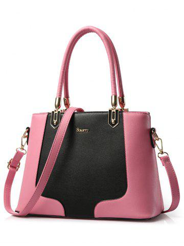 Store PU Leather Metal Embellished Color Block Tote - PINK  Mobile
