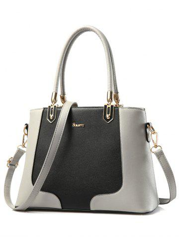 Shop PU Leather Metal Embellished Color Block Tote - GRAY  Mobile