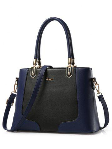Hot PU Leather Metal Embellished Color Block Tote - DEEP BLUE  Mobile