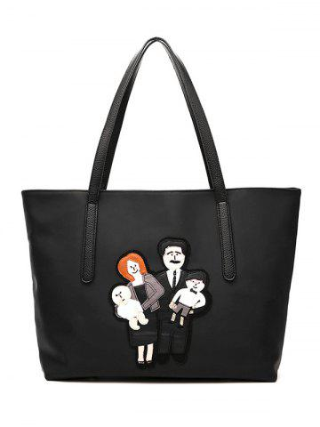 Online Cartoon Applique Nylon Tote Handbag