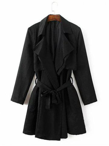 Affordable Tie Belt Overlay Wrap Trench Coat - M BLACK Mobile